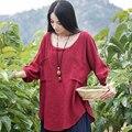 Women Blouses Half Sleeve Cotton Linen Women Tops Casual Loose Vintage Women Shirt Four Colors O Neck Women Shirts