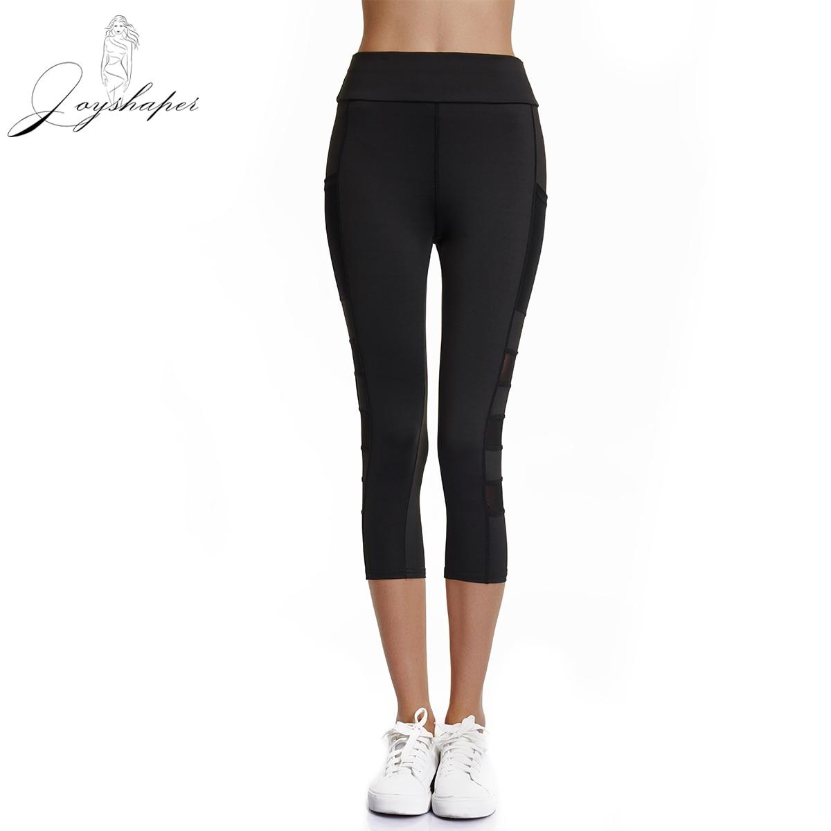Joyshaper 2019 Workout Leggings With Pockets Plus Size Well Fitting Women Breathable Mesh Mid-Calf Gym Sport Pants Black Legging