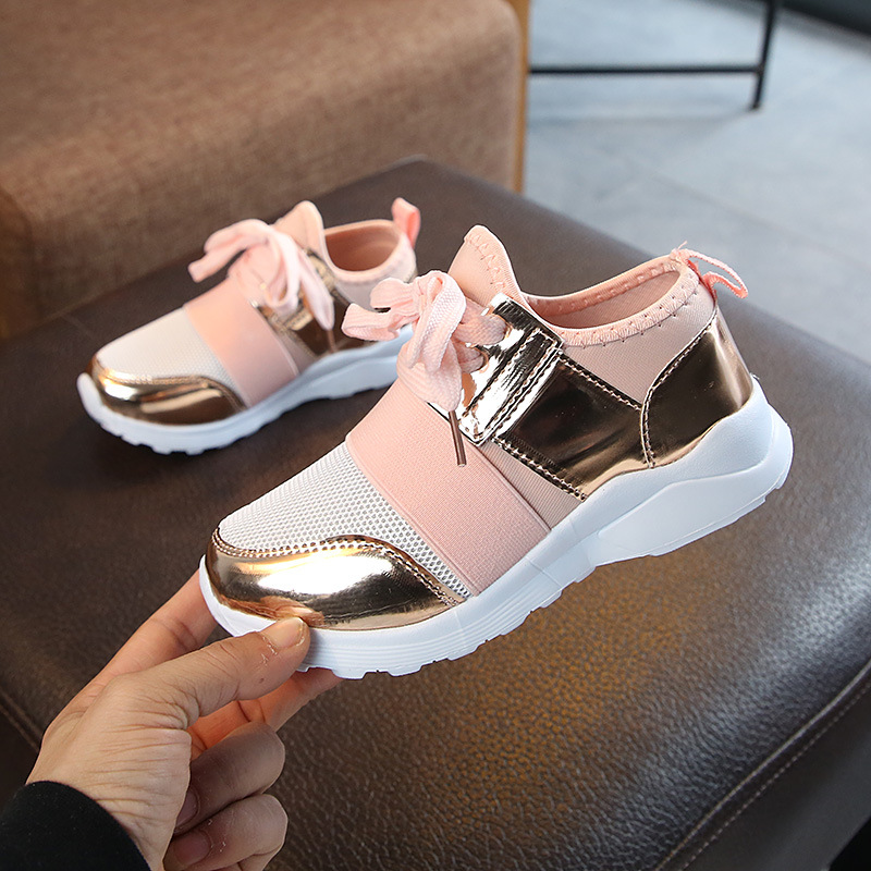 2019 New Children Fashion Sneakers Girls Boys Sport Shoes Kids Soft Bottom Breathable Outdoor Shoes Pink Silver Size 30-35