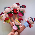 New 6 Pcs Finger Set Toy Children's Learn Play Story Funny Velvet Puppets Christmas Family Style High Quality