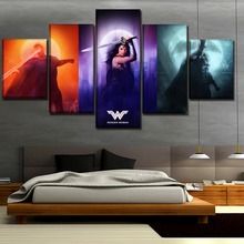 Canvas Print Artwork 5 Pieces Justice League Superman And Wonder Woman Batman Painting Home Decor Wall Art Unique Poster