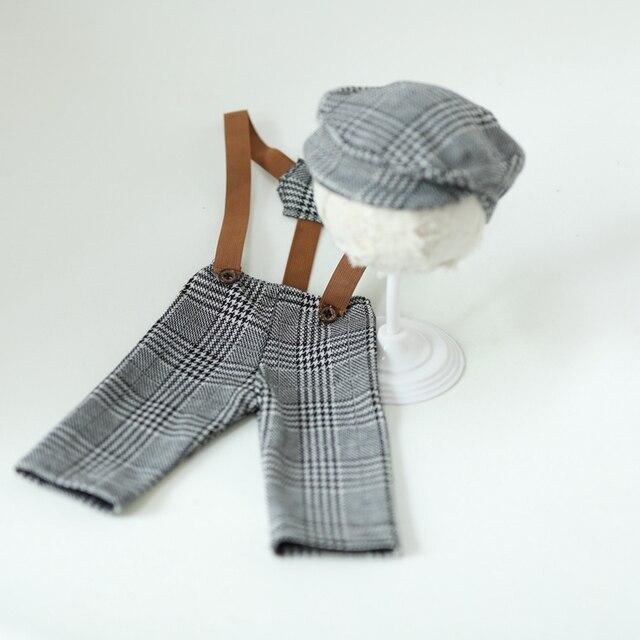 Vêtements pour nouveau-né bébé 0-1M | Chapeau pour fille et garçon, Costume à carreaux pour petit homme, accessoires de photographie pour nouveau-né, accessoires pour Studio Photo, pantalons