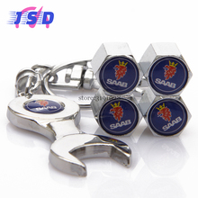 4pcs/set Car Styling Auto Part Tire Valve Caps Wrench Chain Dust Cover for SAAB Logo 1993 9-3 1995 9-5 9000 900 97X 99