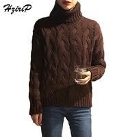 HziriP Turtleneck Knitted Pullover Sweater Women Hollow Out Soft Jumper Pull Femme Autumn Winter 2017 Warm