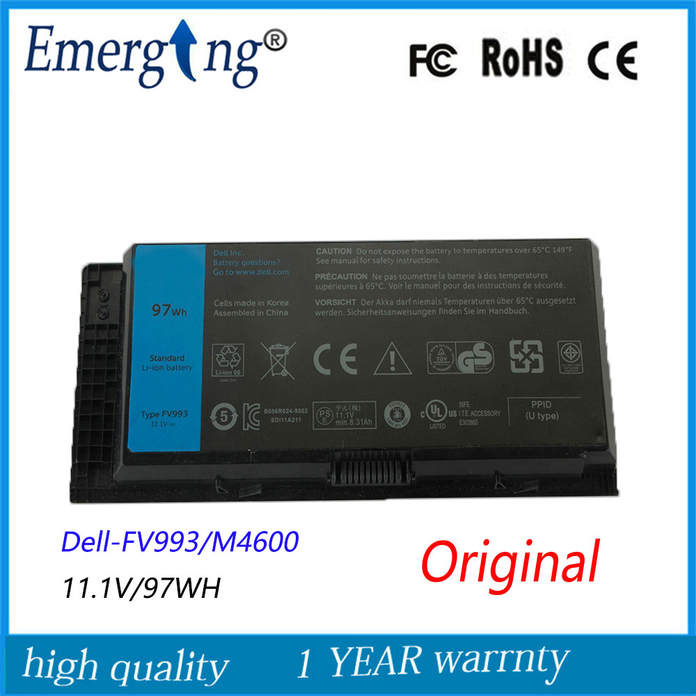11.1V 97WH New  Original   Laptop Battery for Dell 0TN1K5DP FV993 PG6RC R7PND M6600 M4600 TN1K5 11 1v 97wh korea cell new m5y0x laptop battery for dell latitude e6420 e6520 e5420 e5520 e6430 71r31 nhxvw t54fj 9cell