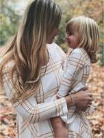 Mother And Daughter Dress 2018 Family Matching Outfits Baby Girls Pliad Clothes Kids And Parents Spring Autumn Long Sleeve Dress