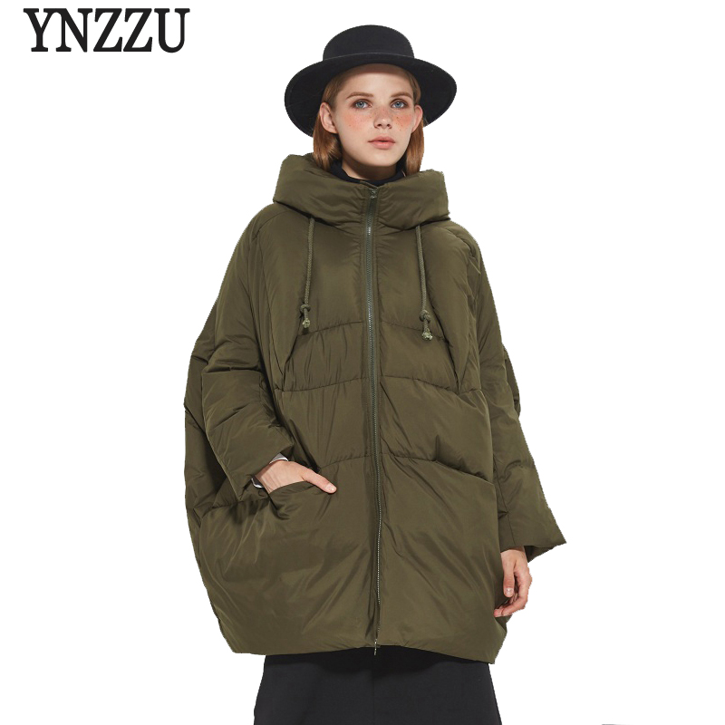 YNZZU Brand High Quality 2017 Winter Down Jackets Women Medium Long Loose Duck Down Coats Female Snow Overcoat Plus Size YO375
