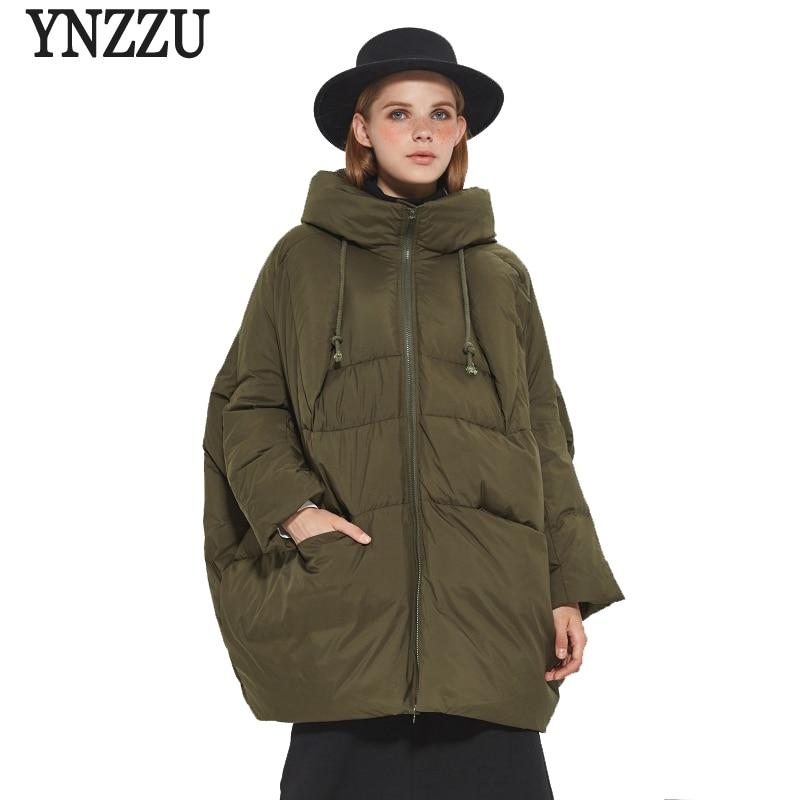 YNZZU Brand High Quality 2017 Winter   Down   Jackets Women Medium Long Loose Duck   Down     Coats   Female Snow Overcoat Plus Size YO375
