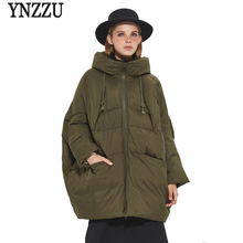 YNZZU Brand High Quality Winter Down Jackets Women Medium Long Loose Duck Coats Female Snow Overcoat Plus Size YO375