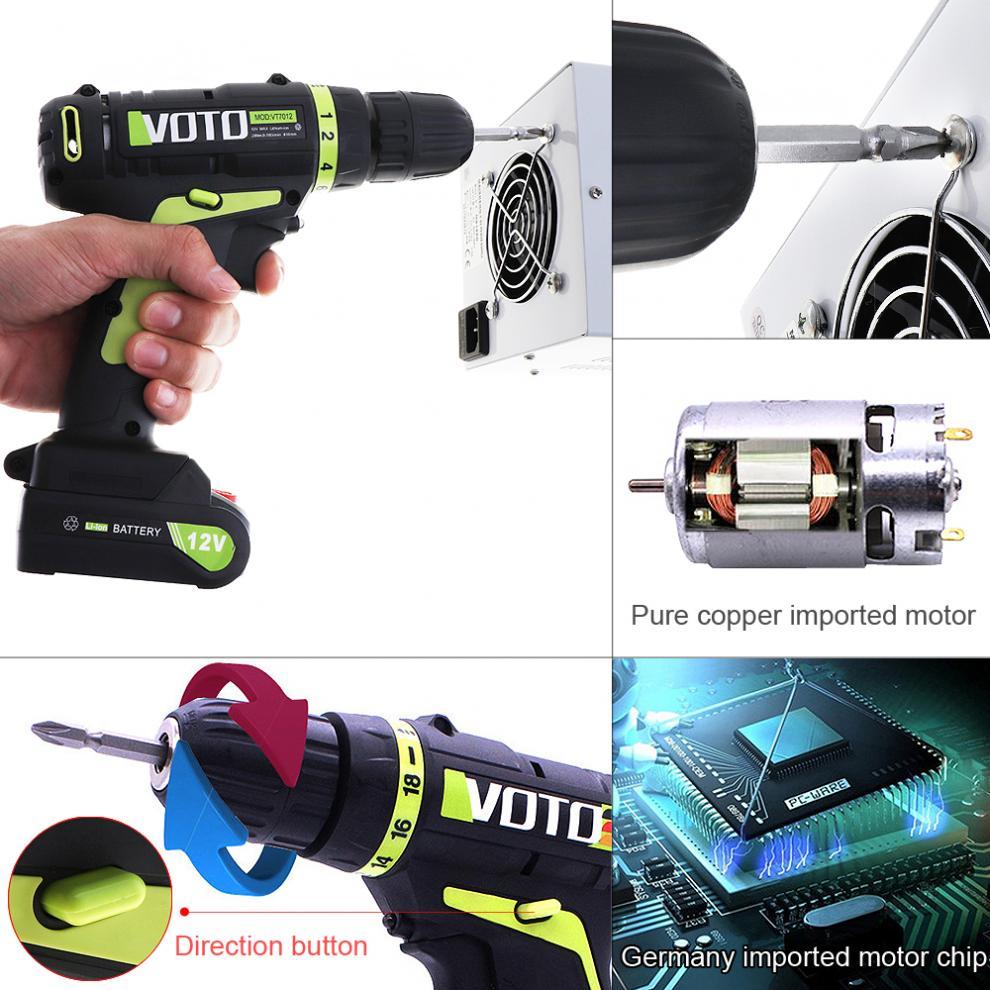VOTO AC 100-240 V batterie au Lithium sans fil 12 V tournevis électrique avec interrupteur de réglage de Rotation pour la manipulation des vis/Punchin - 6