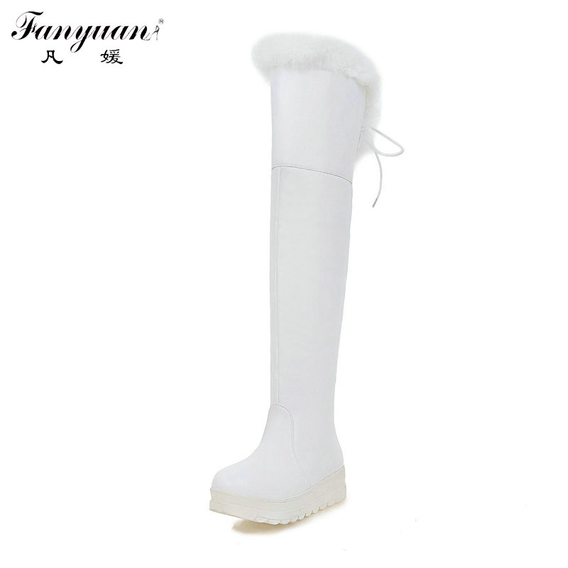 2017 Winter Slip-On with Back Lace-up Bow Long Boots for Woman Plus Size Flat Platform Shoes Girls' Over-the-knee Snow Boots