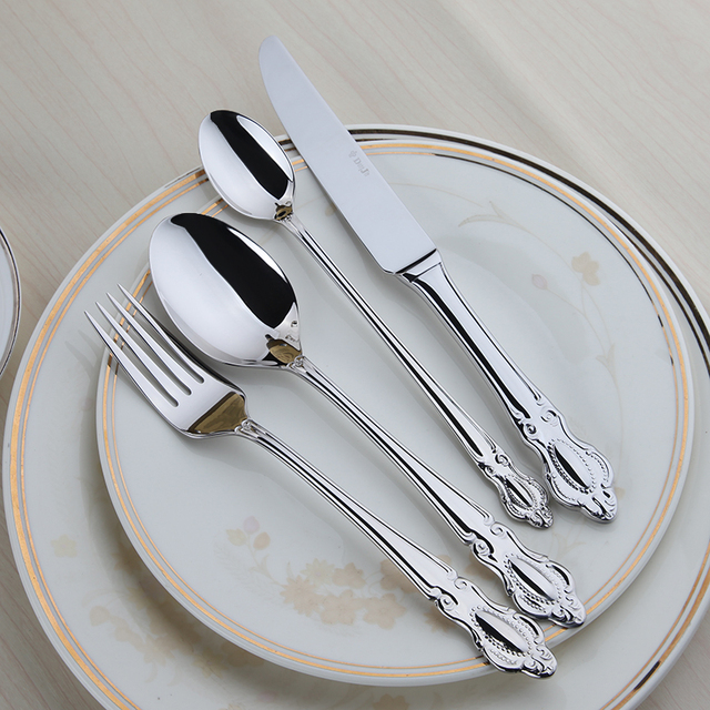 Cutlery Set 24 Pcs Quality Stainless Steel Dinnerware Set Restaurant Vintage Timeless Table Setting Western Dining & Cutlery Set 24 Pcs Quality Stainless Steel Dinnerware Set ...