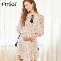 ARTKA 2018 新しい女性レトロ薄型エスニックスタイル包帯膝スリーブ花エレガントなドレス LA15180X