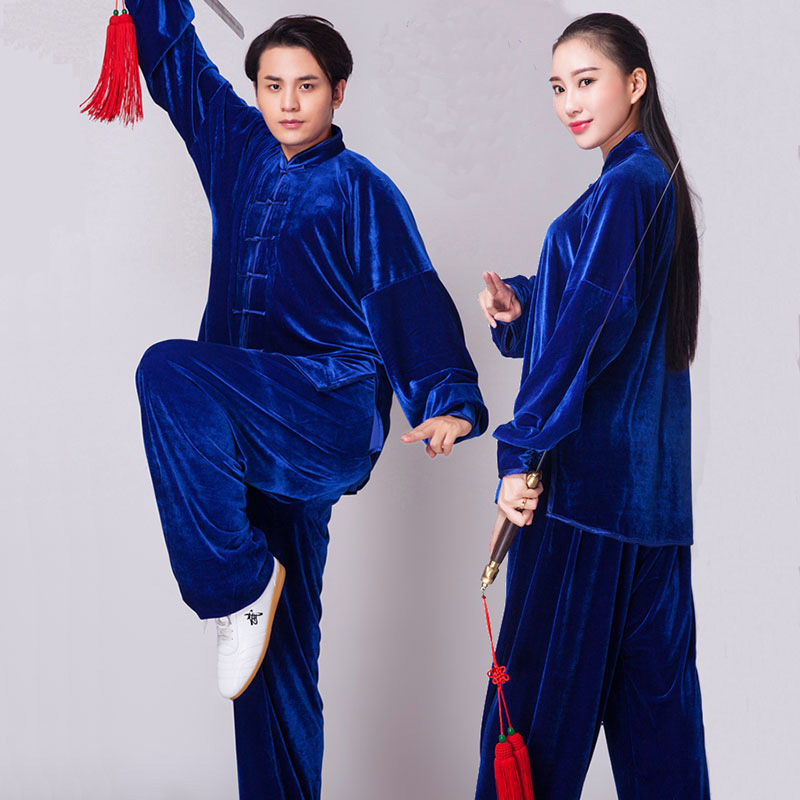 Unisex Gold Velvet Chinese Style Autumn Winter Thickening TaiChi Uniform Performance Clothing Suits Adult Children
