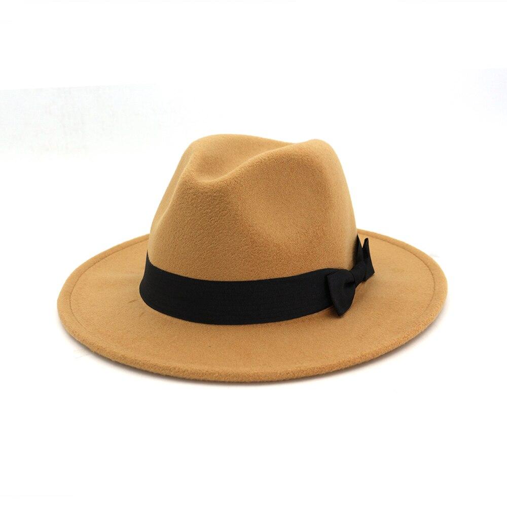 973d3d0d061 Winter Elegant Women Felt Solid Fedora Hat With Bowknot Band Wide Flat Brim  Jazz Hats Stylish