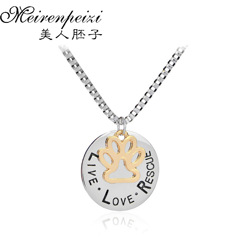 Live Love Rescue Pet Adoption Pendant Necklace Hand Stamped Personalized Animal Shelter Pet Rescue Paw Prints Cat Dog Lover