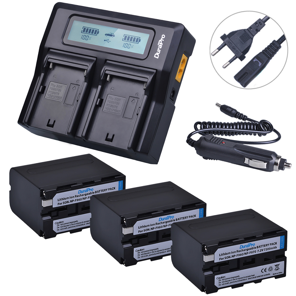 3x 7200mAh NP-F970 NP F970 Power Display Battery + Ultra Fast 3X faster LCD Dual Charger for SONY F930 F950 F770 F570 CCD-RV100 np f960 f970 6600mah battery for np f930 f950 f330 f550 f570 f750 f770 sony camera