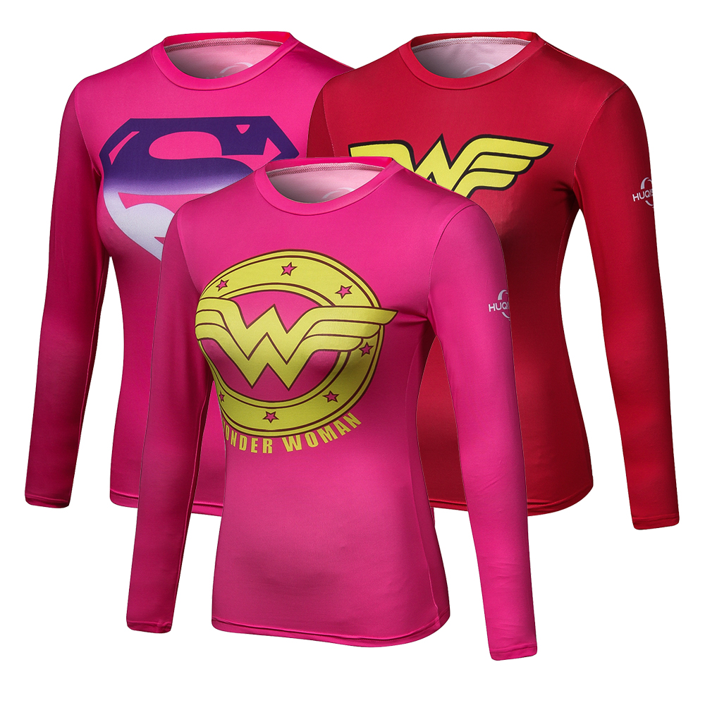 Girls Crossfit Long Sleeve Compression Shirt 3D Anime Marvel Superhero Wonder Woman T Shirt Tights Fitness WOMEN Tops & Tee