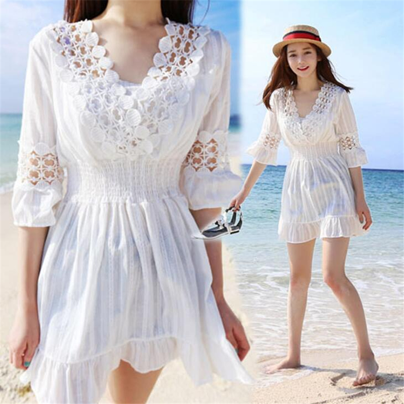 New High Quality Summer Woman Popular Lolita grid Hollow Maxi Dress Sexy Beautiful Lace Short skirt Free Shipping