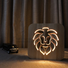 3D Wooden Lion Lamp Animal Style USB LED Table Light luz Switch Control bebe noche Wood Carving Lamp for Children bedroom Decor
