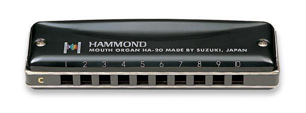 SUZUKI Harmonica HA-20 Promaster Hammond 10-hole Blues Harmonica Diatonic- KEY Of C mini 10 hole c tone harmonica black golden