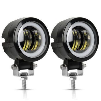 2PCS/1PC 12V-80V Waterproof Round  Angel Eyes LED light Portable Spotlights Motorcycle Offroad Truck Driving Car Boat Work Light