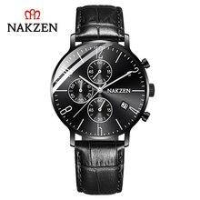 цена NAKZEN brand genuine simple business men's watch three eyes six-pin calendar waterproof leather strap SL5056G онлайн в 2017 году