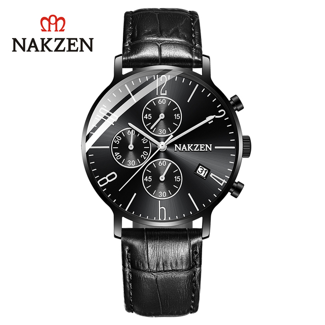NAKZEN brand genuine simple business men's watch three eyes six-pin calendar waterproof leather strap SL5056G
