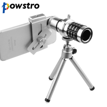 Powstro 12X Zoom Phone Telescope Telephoto Camera Lens with tripod for iPhone Android Mobile Phones smartphone