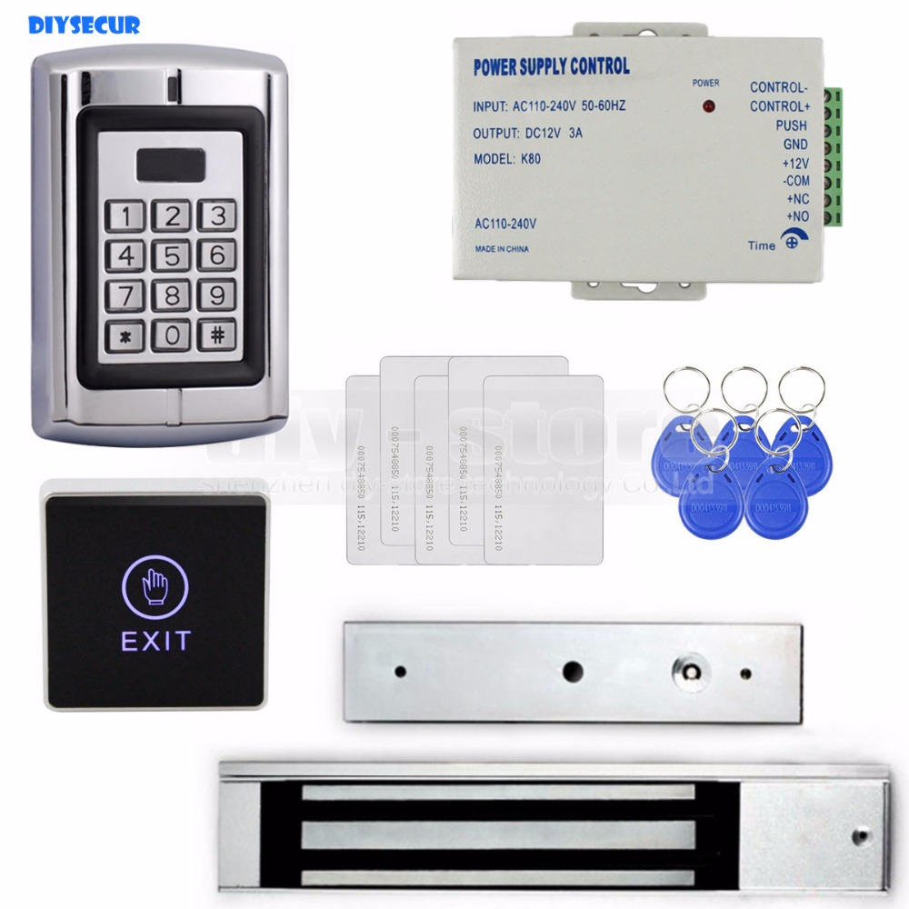 DIYSECUR Touch Button RFID 125KHz Metal Keypad Door Access Control Security System Kit + Magnetic Lock for Home/ Office Use diysecur rfid keypad door access control security system kit electronic door lock for home office b100