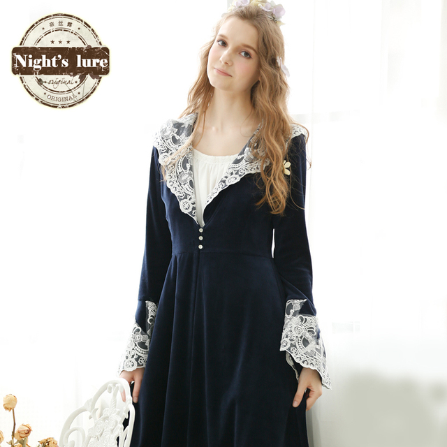2016 Cotton Real Bath Robe Kimono Retro Lace Nightgown Winter Palace Female Size Princess Thick Long Sleeved Home Furnishing