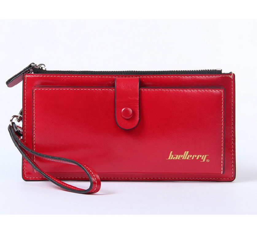 Baellerry Ladies Purse Hasp Bright Skin Long Thin Wax Leather Wallet Women's Functional Card Holder Passport Cover Phone Pocket baellerry ladies purse hasp bright skin long thin wax leather wallet women s functional card holder passport cover phone pocket