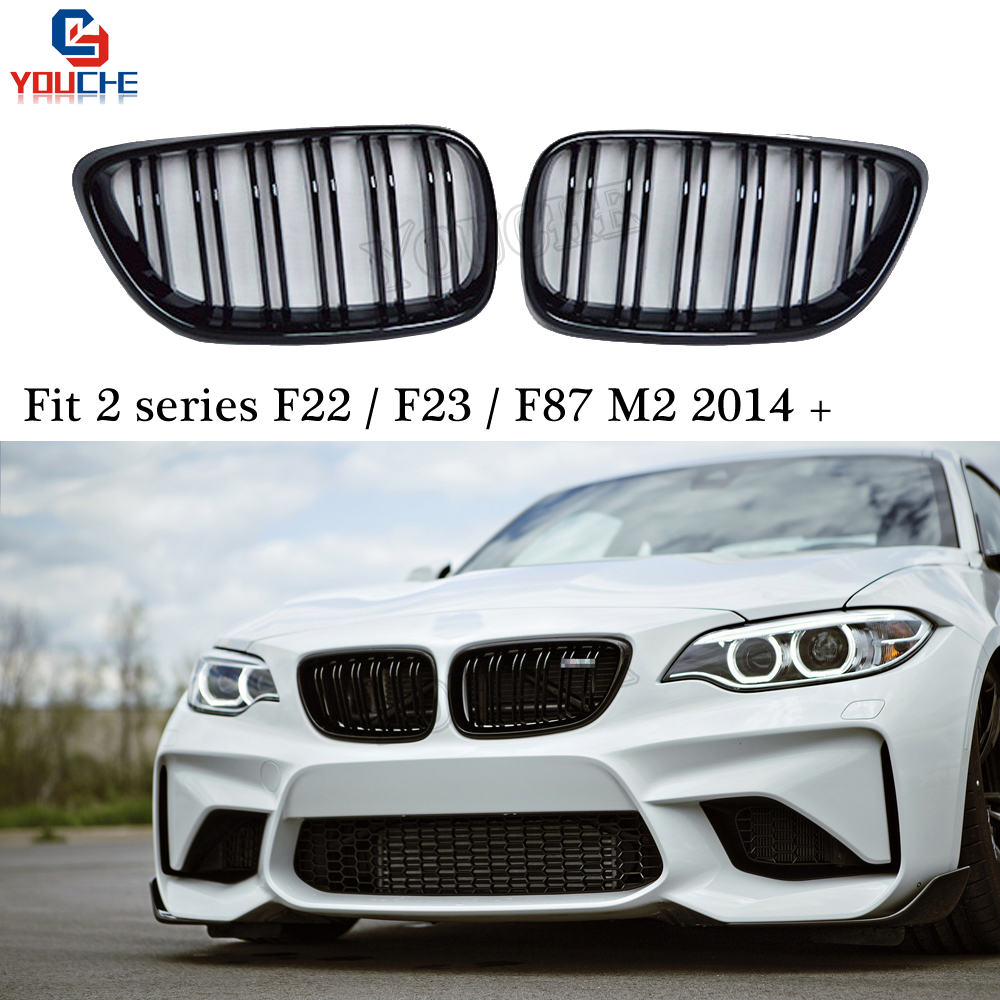 F22 Dual Slat Gloss Black Front Bumper Grille Kidney Grill Mesh for BMW 2 Series F22 F23 M2 F87 220i 228i 230i M235i image