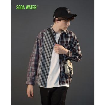SODA WATER Patchwork Plaid Casual Shirt Mens Hip hop Casual Shirt 2018 Man Autumn New Fashion Streetwear Check Shirt 8716W Рубашка