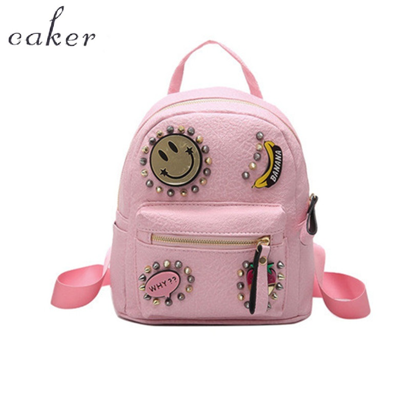 Caker Brand 2017 Women Top Mini PU Backpack Lady Fashion Patchwork Preppy Style Travel Shoulder Bags