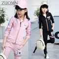 2017 Spring Girls Sport Clothes Girls Clothing Sets Girls Sport Suit 3pcs Kids Hoodies Coat+Long Shirt + Pants Tracksuit YL558