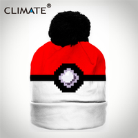 CLIMATE 3D Printing Game Pixel Pokemon Ball Girl Women Winter Warm Pompon Skullies Beanies Unique Colorful