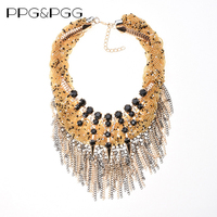 2015 New Fashion Gold Plated Black Beads Chunky Choker Statement Necklaces Women Tassel Necklace Collar