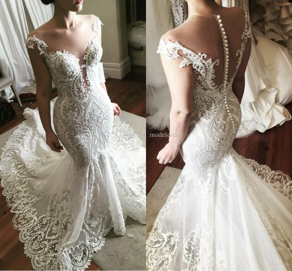 56cdfbce239 New Arrival Lace Tulle Wedding Dresses Mermaid Style 2019 Sleeveless Button  Back V-neck Wedding