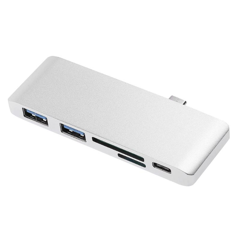 Multi-function 5 Ports Type-C HUB 2xUSB 3.0+for SDFT Card Reader+PD Charging Port Adapter Laptop  Accessory For Macbook