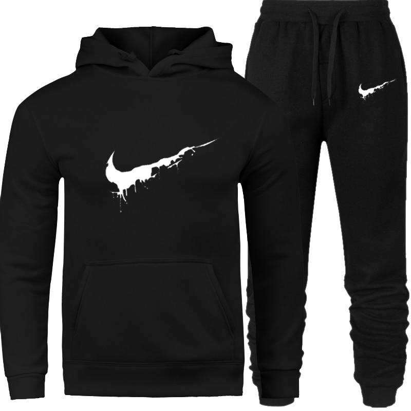 Suziyan 2018 Tracksuit Thermal Men Sportswear Sets Fleece Thick Hoodie Pants Casual