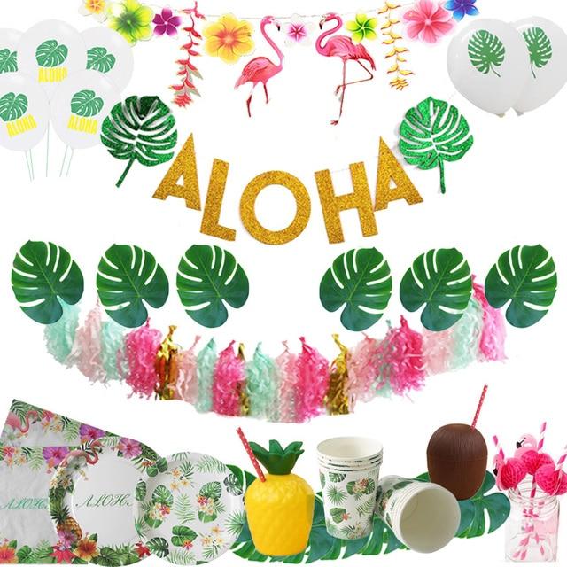 Cyuan Glitter Aloha banderines Banner para la decoración del partido del flamenco del verano guirnalda de letras de Aloha Luau Hawaii piña suministros de boda