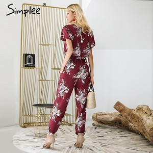 Image 2 - Simplee Vintage floral print boho jumpsuit romper V neck short sleeve casual jumpsuit Long sash summer jumpsuit women overalls