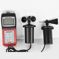 Multifunktionale Digital-Anemometer AM-4836C Air Velocity Flow wind geschwindigkeit richtung skala temperatur Tester 3-tasse Sonde