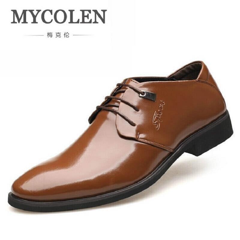 MYCOLEN Mens Shoes Round Toe Dress Glossy Wedding Shoes Patent Leather Luxury Brand Oxfords Shoes Black Business Footwear top quality crocodile grain black oxfords mens dress shoes genuine leather business shoes mens formal wedding shoes