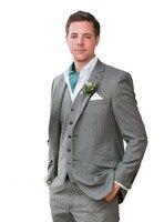 2016 Custom Slim Fit Gris Claro de la Raja Del Lado Dos Botones Muesca Solapa Esmoquin Del Novio de Los Hombres Trajes de Chaqueta de Traje de Hombre de Negocios + Pant + chaleco + tie