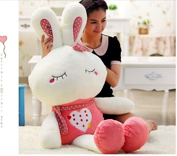 Stuffed animal 130 cm cute love rabbit pink or green plush toy throw pillow soft doll gift w3336 rabbit plush keychain cute simulation rabbit animal fur doll plush toy kids birthday gift doll keychain bag decorations stuffed