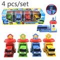 4 unids/set modelo a escala pequeña el pequeño bus bus niños en miniatura de plástico bebé oyuncak garaje tayos bus kids toys navidad regalo