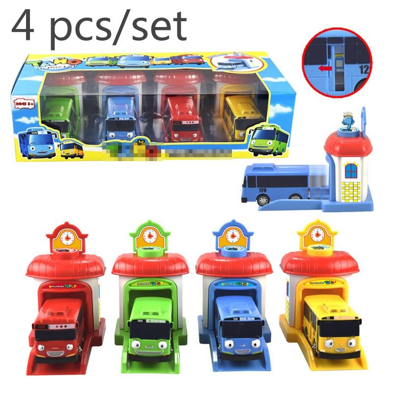 4pcs/set Scale Model Small The Little Bus Children Miniature Bus Plastic Baby Oyuncak Garage Tayos Bus Kids Toys Christmas Gift