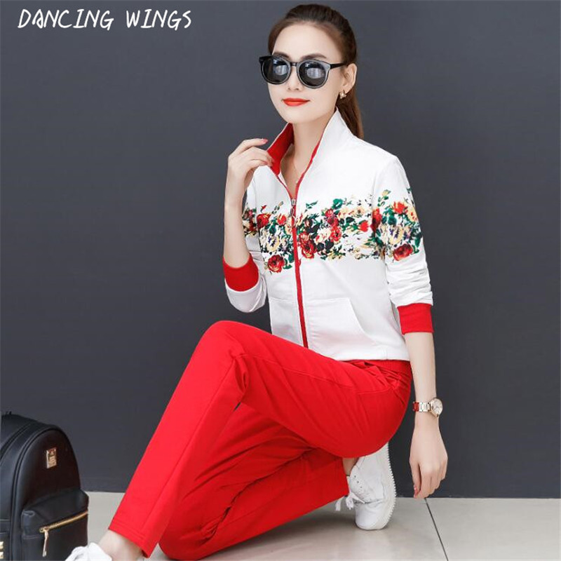 Spring Women Two Piece Outfits Sweet Floral Print Sweatershirt Tops And Trousers Sets Causal Zipper Female Tracksuits